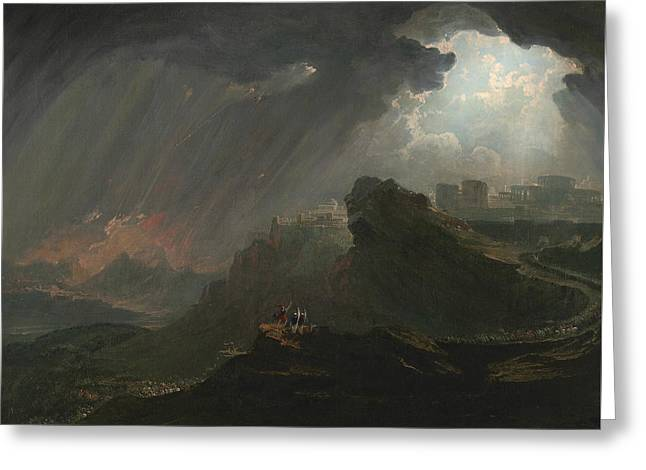 Joshua Commanding The Sun To Stand Still Greeting Card by John Martin