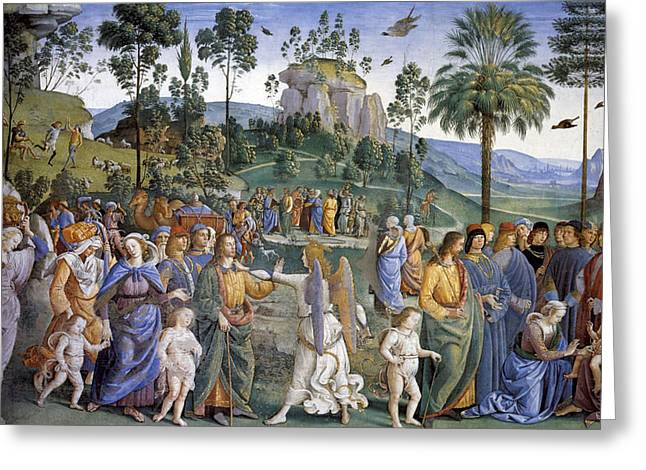 Journey Of Moses In Egypt Greeting Card by Pietro Perugino