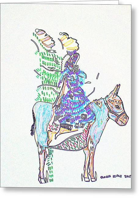Journey To Bethlehem - Joseph And Mary Greeting Card by Gloria Ssali