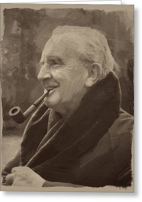 J.r.r. Tolkien Greeting Card by Afterdarkness