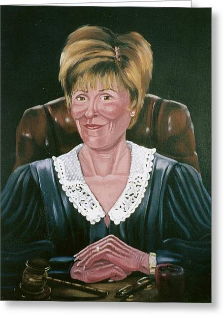 Greeting Card featuring the painting Judge Judy by Susan Roberts