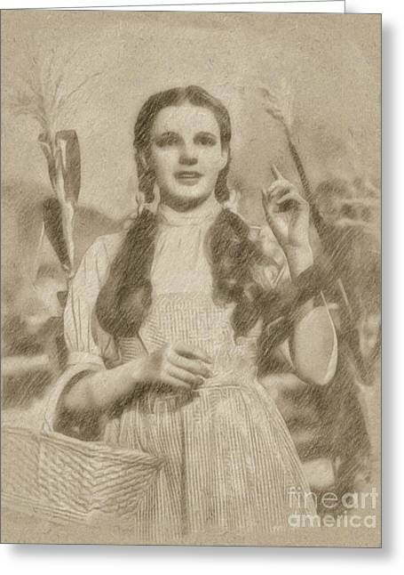 Judy Garland Vintage Hollywood Actress As Dorothy In The Wizard Of Oz Greeting Card by Frank Falcon