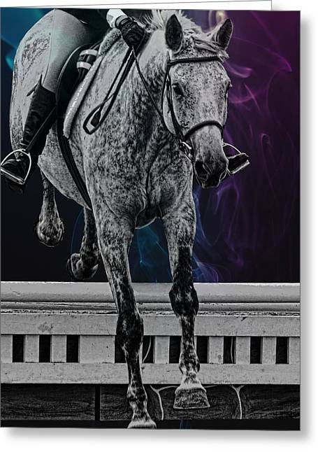 Greeting Card featuring the photograph Jumping Vertical Artwork by Dressage Design