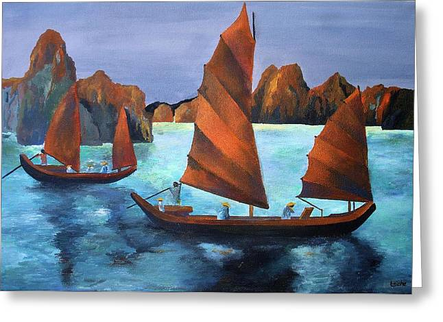 Junks In The Descending Dragon Bay Greeting Card by Tracey Harrington-Simpson