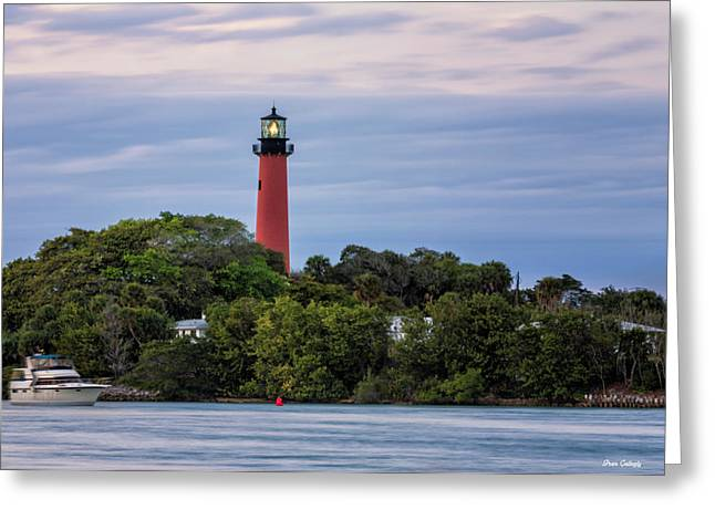 Jupiter Inlet Lighthouse Greeting Card by Fran Gallogly