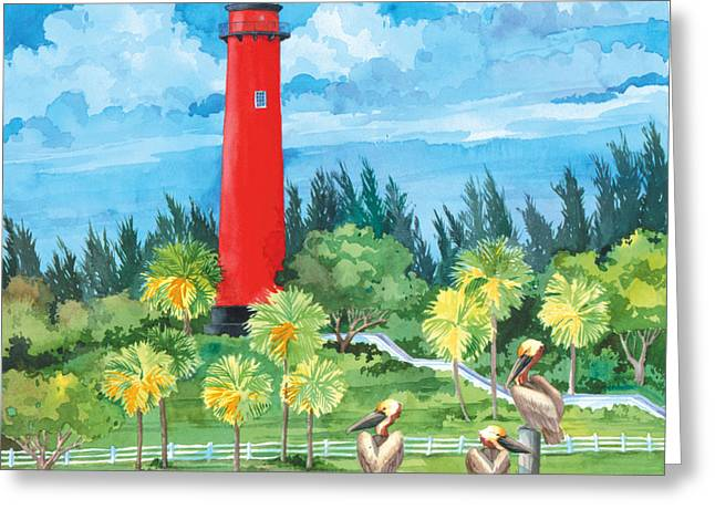 Jupiter Lighthouse Greeting Card by Paul Brent