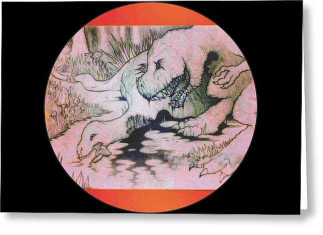 Jurassic Munchies Greeting Card by Jordan Kotter