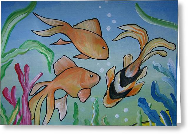 Greeting Card featuring the painting Just Fishy by Leslie Manley