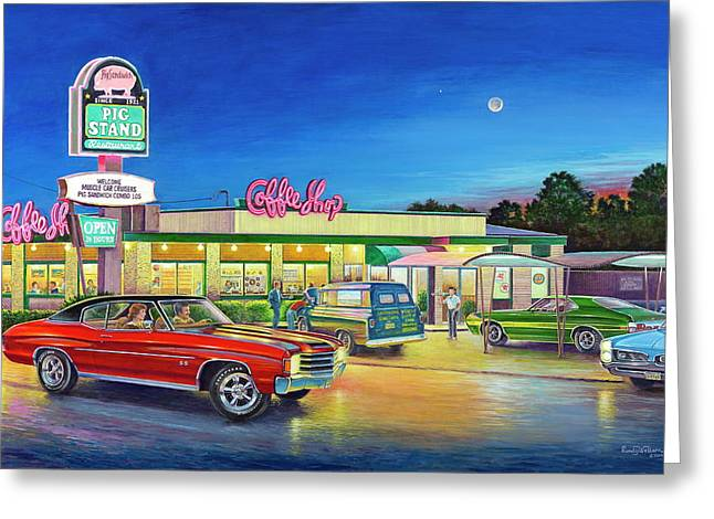 Muscle Car Cruise Night Greeting Card