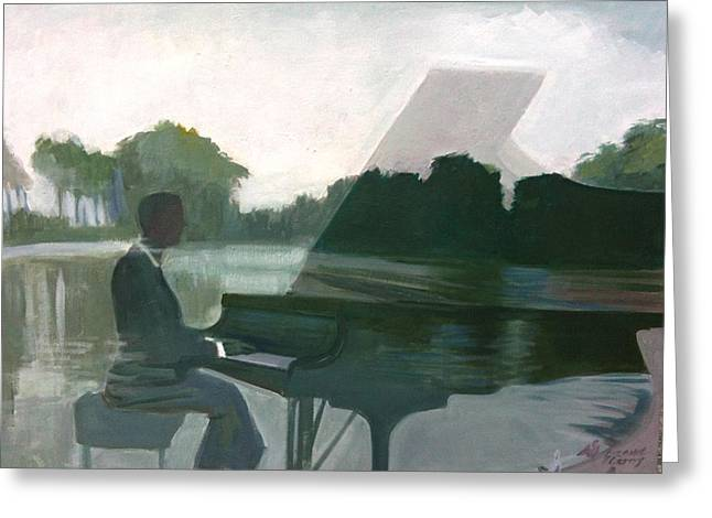 Justin Levitt Steinway Piano Spreckles Lake Greeting Card