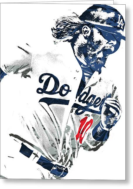 Justin Turner Los Angeles Dodgers Pixel Art Greeting Card by Joe Hamilton
