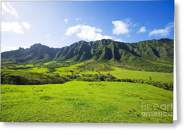 Kaaawa Valley And Kualoa Ranch Greeting Card by Dana Edmunds - Printscapes