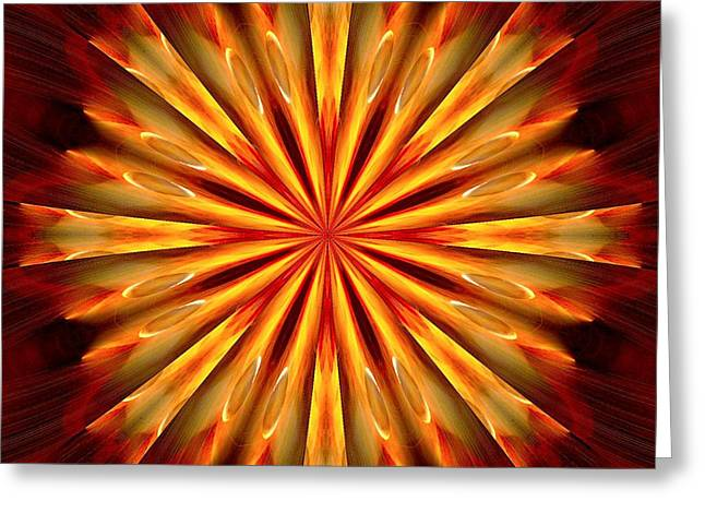 Kaleidoscope Of Fire Greeting Card by Mark Lopez