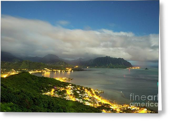 Greeting Card featuring the photograph Kaneohe At Night by Charmian Vistaunet