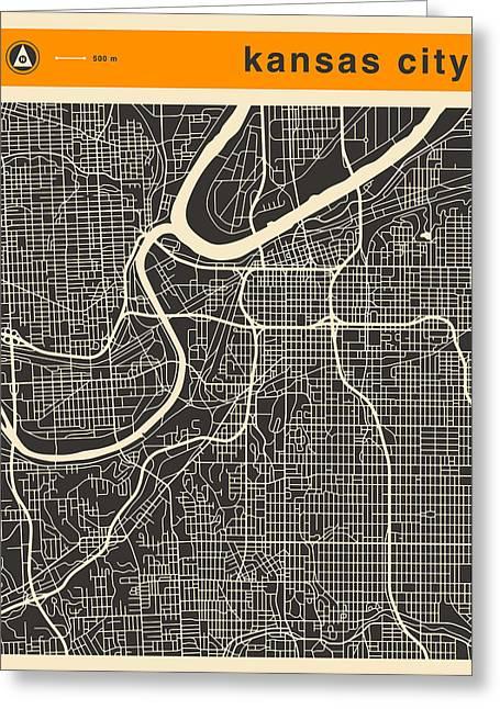 Kansas City Map Greeting Card
