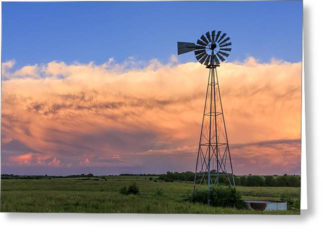 Kansas Windmill And Storm Greeting Card