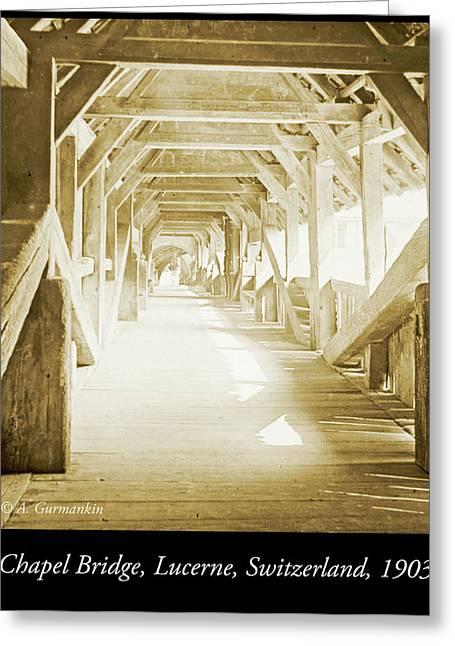 Kapell Bridge, Lucerne, Switzerland, 1903, Vintage, Photograph Greeting Card