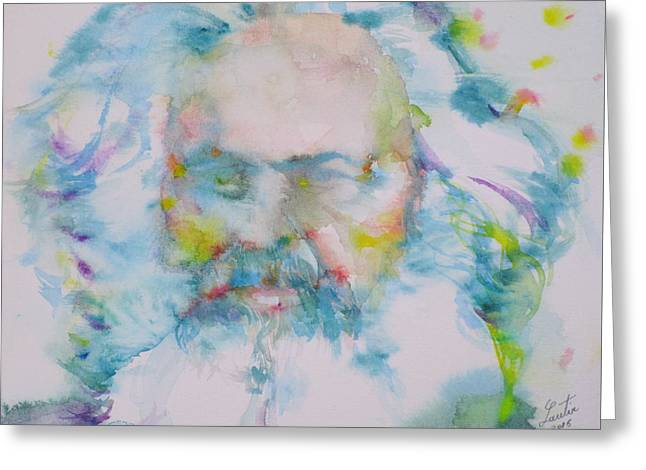 Karl Marx - Watercolor Portrait Greeting Card