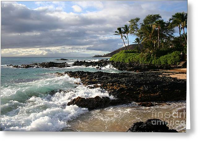 Honuaula Greeting Cards - Ke Lei Mai La O Paako Oneloa Puu Olai Makena Maui Hawaii Greeting Card by Sharon Mau