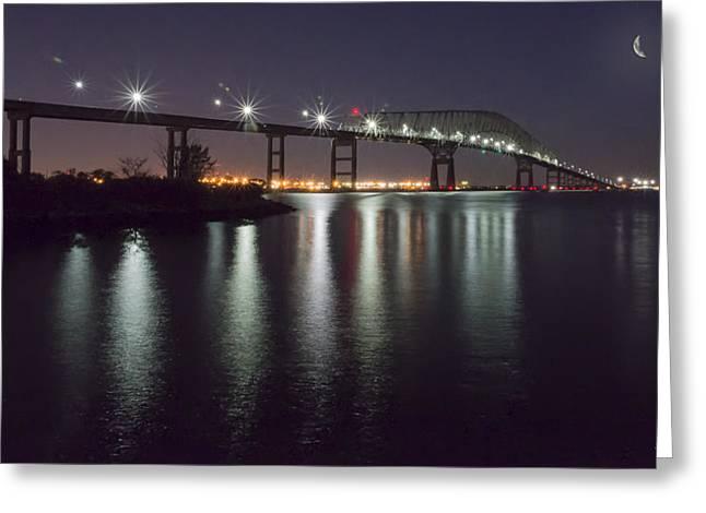 Key Bridge At Night Greeting Card by Brian Wallace