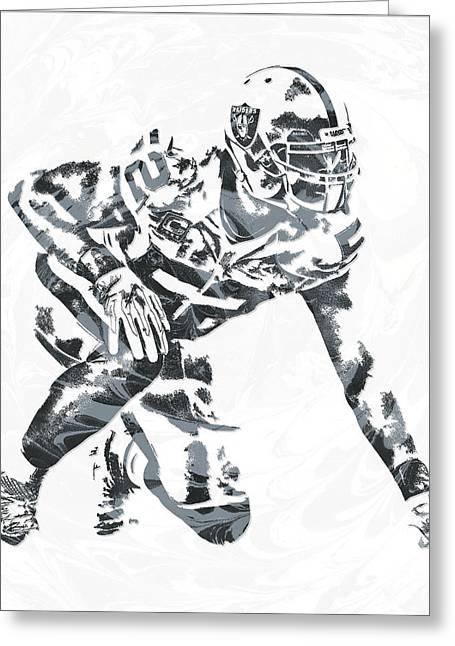 Khalil Mack Oakland Raiders Pixel Art 4 Greeting Card