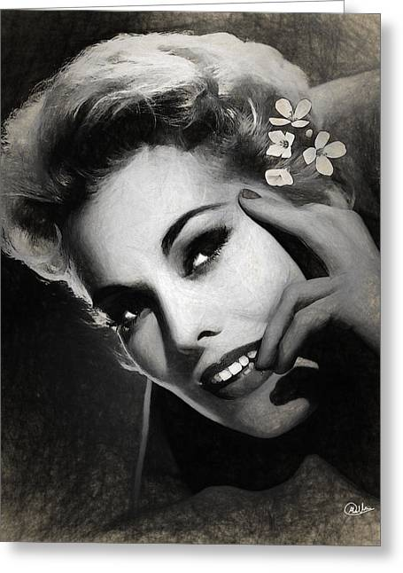 Kim Novak Draw Greeting Card by Quim Abella