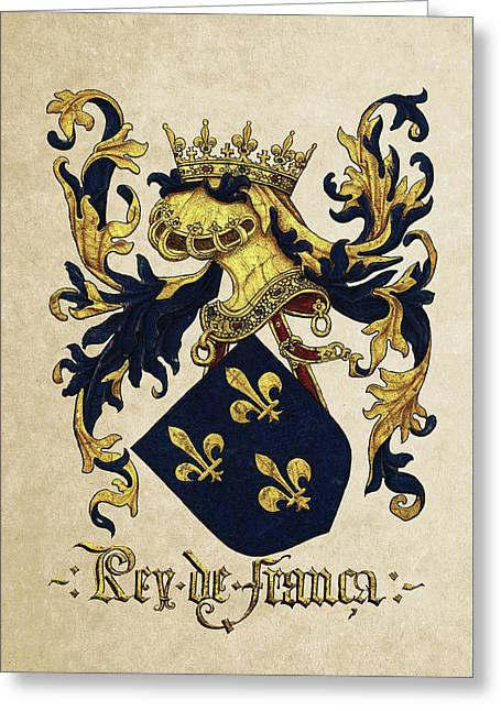 King Of France Coat Of Arms - Livro Do Armeiro-mor  Greeting Card by Serge Averbukh