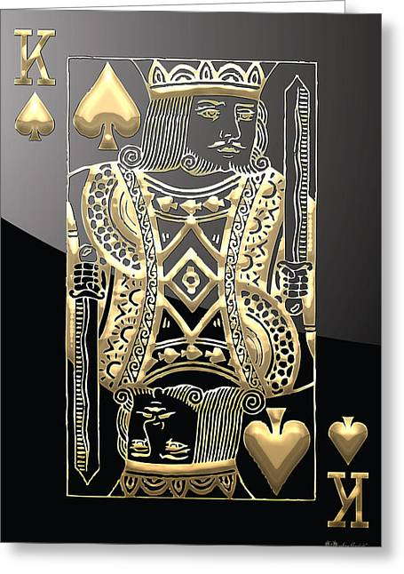King Of Spades In Gold On Black   Greeting Card