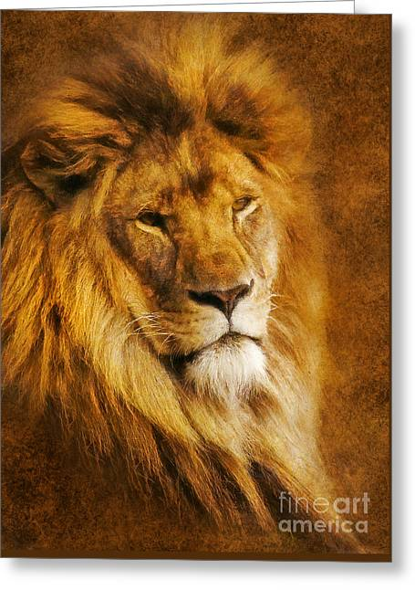 Greeting Card featuring the digital art King Of The Beasts by Ian Mitchell