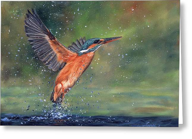 Greeting Card featuring the painting Kingfisher by David Stribbling