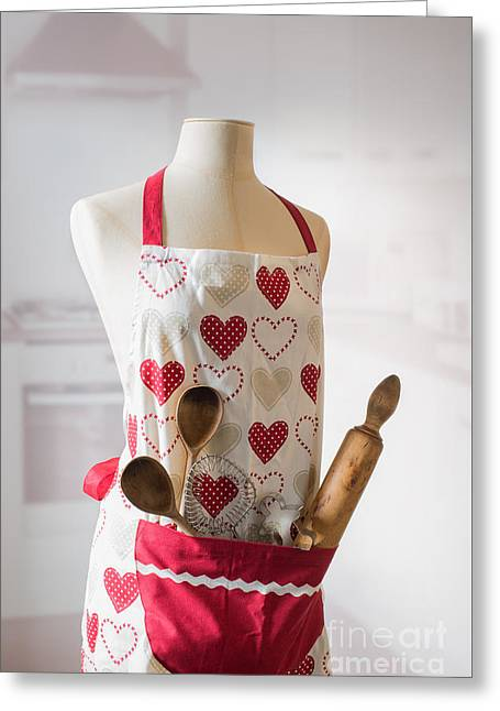 Kitchen Apron Greeting Card by Amanda Elwell