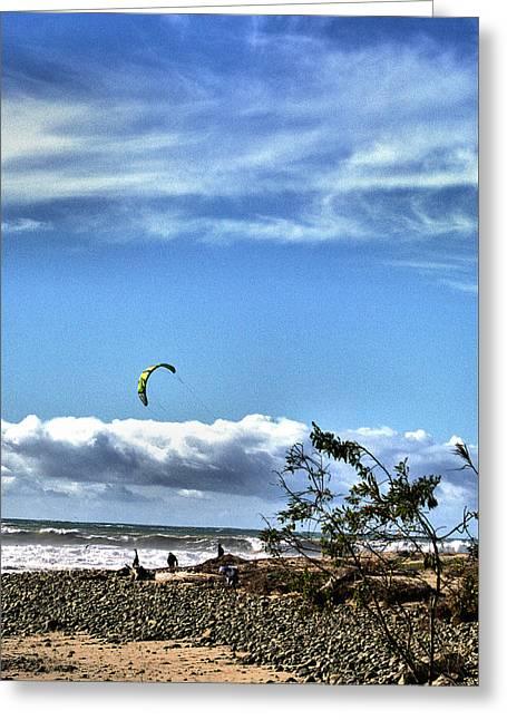 Kite Boarding Greeting Card by Michael Gordon