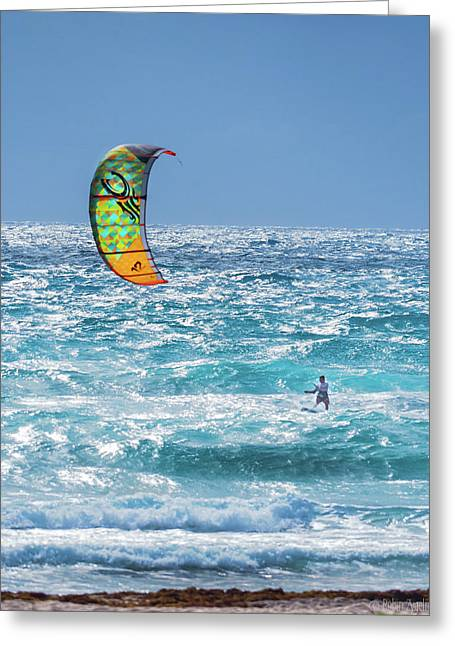 Kite Boarding Greeting Card by Robin Zygelman