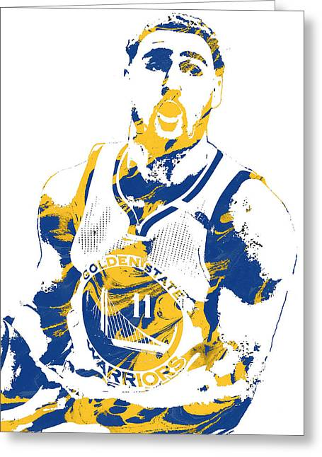 Klay Thompson Golden State Warriors Pixel Art 3 Greeting Card by Joe Hamilton