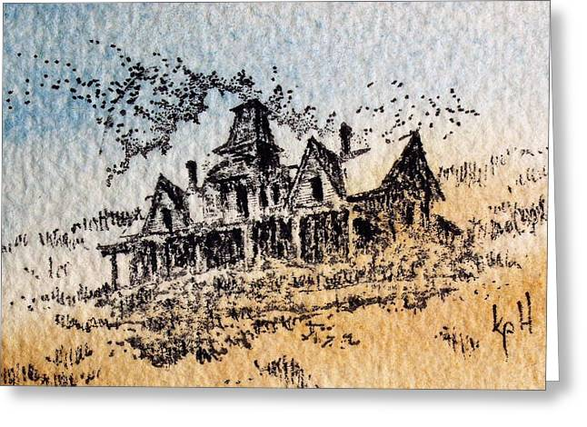 Knippenberg Mansion Glendale Ghost Town Montana Greeting Card by Kevin Heaney