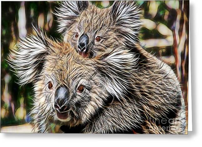 Koala Bear Mom And Child Greeting Card by Marvin Blaine