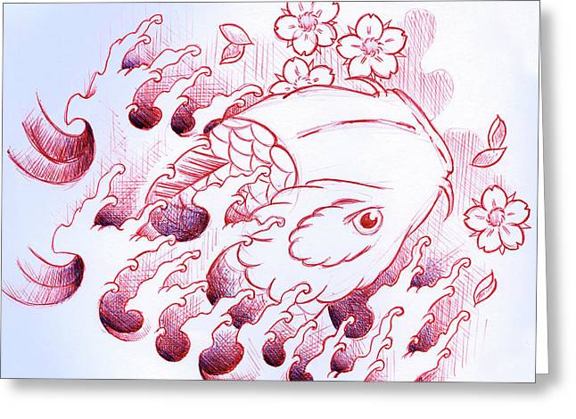 Koi Carp Tattoo Art Greeting Card