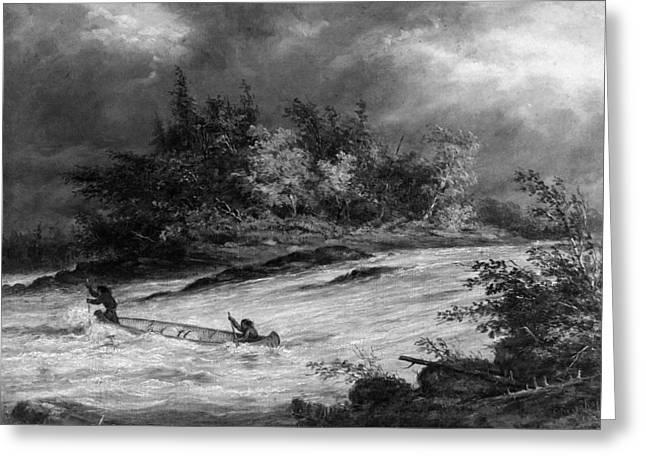 Krieghoff: Canoe On Rapids Greeting Card by Granger