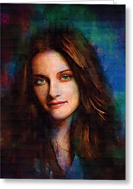 Kristen Stewart Greeting Card by Elena Kosvincheva