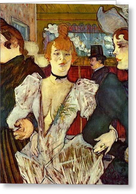La Goulue Arriving At The Moulin Rouge With Two Women Greeting Card