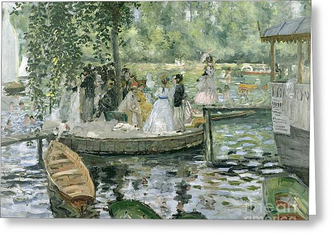 Umbrella Greeting Cards - La Grenouillere Greeting Card by Pierre Auguste Renoir