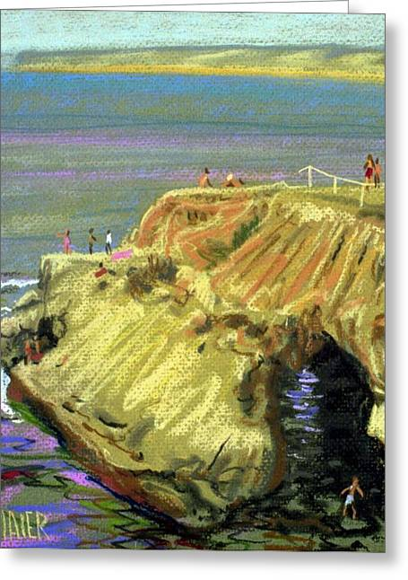 La Jolla Swimmers  Greeting Card by Donald Maier