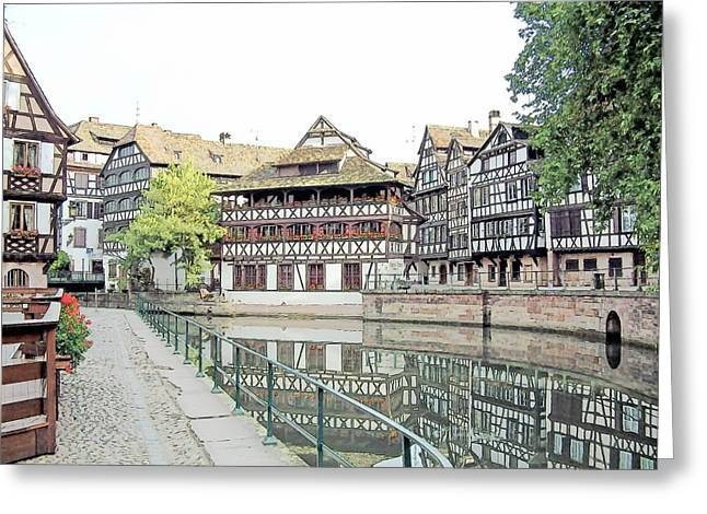 La Petite France Strasbourg France Color Pencil Greeting Card by Joseph Hendrix