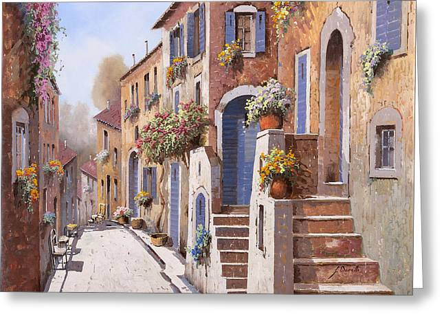 La Strada Al Sole Greeting Card by Guido Borelli