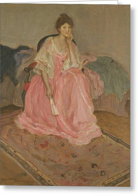 Lady In Pink Greeting Card by Frederick Carl Frieseke