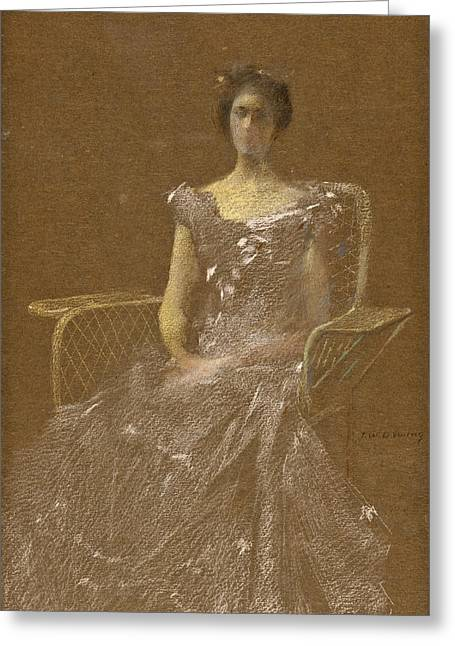 Lady In Rattan Armchair Greeting Card