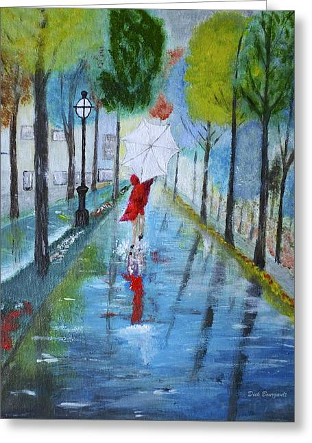 Lady In Red Original Version Greeting Card by Dick Bourgault