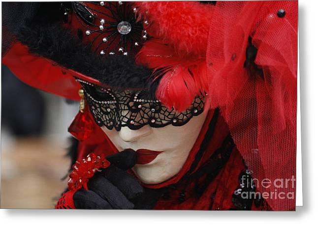 Lady In Red Greeting Card by Wilko Van de Kamp