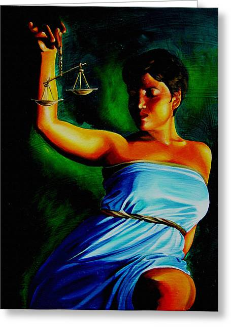Lady Justice Greeting Card by Laura Pierre-Louis