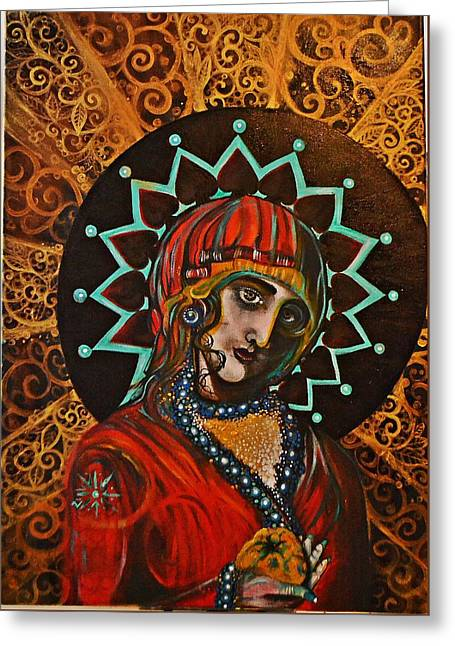 Lady Of Spades Greeting Card by Sandro Ramani
